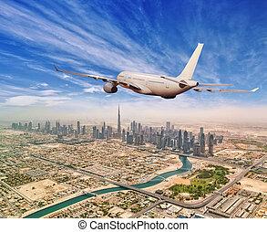 város, dubai, repülés, kereskedelmi, felül, repülőgép