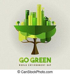 város, eco, fa nap, környezet, barátságos, kártya