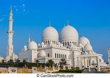 város, egyesült, zayed, főváros, mecset, arab, emirátusok, abu, nagy, dhabi, sejk