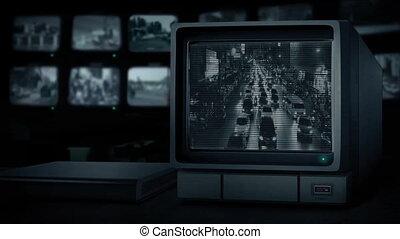város, elfoglalt, monitor, cctv, át, út