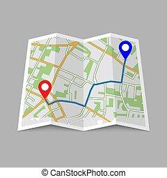 város, elvont, elhelyezés, térkép