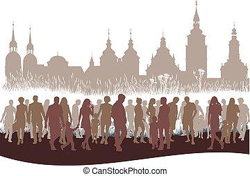 város emberek, csoport, előbb