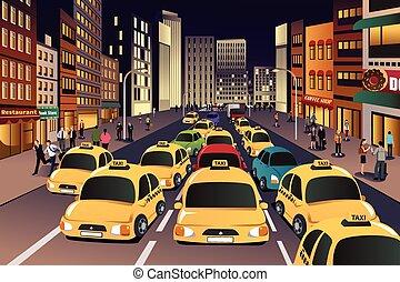 város, este, elfoglalt