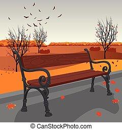 város, fából való, pad, ősz, üres