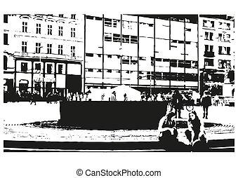 város, fehér, utca, fekete, rajz