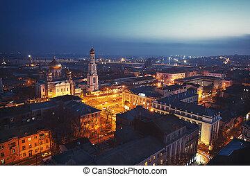 város, felül, éjszaka