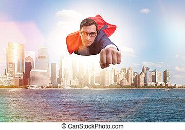 város, felett, repülés, superhero, üzletember