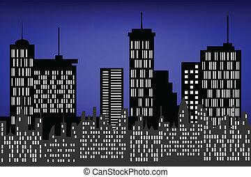 város, felhőkarcoló, éjszaka