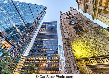 város, felhőkarcoló, -, london, uk, félhomály, skyward, kilátás