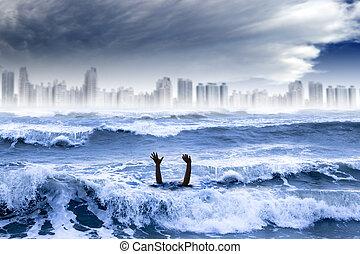 város, fulladás, concept., globális, víz, lerombol, időjárás, megrohamoz, extrém, melegítés, ember