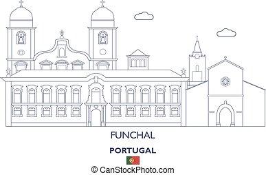 város, funchal, láthatár, lineáris, portugália