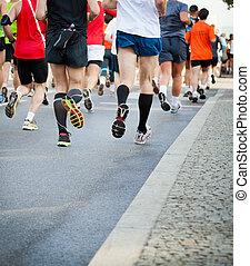 város, futás, utca, maratoni futás, emberek