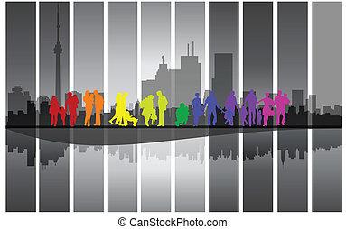 város, gyalogló, család, színes