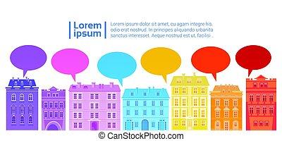 város, hálózat, színes, média, kommunikáció, épület, összeköttetés, csevegés, társadalmi, buborék