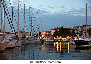 város, idő, napnyugta, tenger, horvátország, porec, kilátás