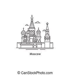 város, illustration., moszkva, egyenes, elszigetelt, háttér., vektor, utazó, főváros, jel, fehér, concept., oroszország