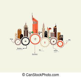 város, infographics