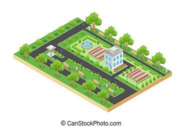 város, isometric, terület, liget, pihenés, bitófák, elszigetelt, háttér., vektor, tervezés, zöld white