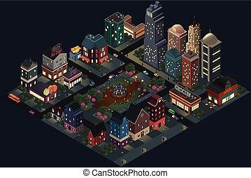 város, isometric, utcák, épületek, tervezés, éjszaka