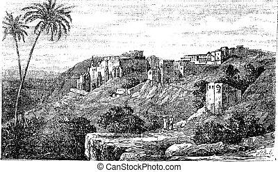 város, izrael, szüret, betlehem, palesztina, engraving.