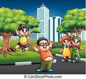 város, játék, út, gyerekek