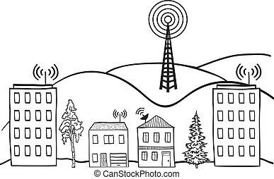 város, jelez, ábra, drótnélküli távíró, épület, internet