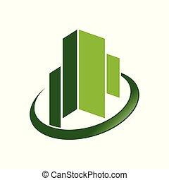 város, jelkép, kereskedelmi, zöld, smaragdzöld, tervezés
