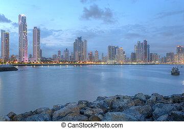 város, központi, középcsatár, panama, öböl, panama, láthatár, napnyugta, amerika