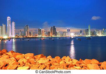 város, központi, középcsatár, város, panama, öböl, panama, láthatár, napnyugta, amerika