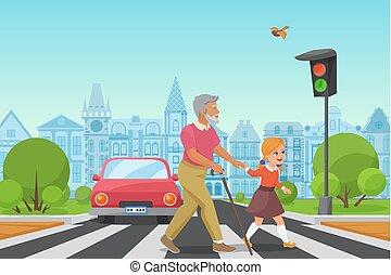 város, kevés, öreg, illustration., kereszt, man., ételadag, vektor, felszolgál, leány, kölyök, idősebb ember, út, ember