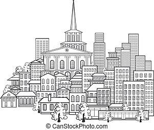 város, kevés, kicsi, utcák