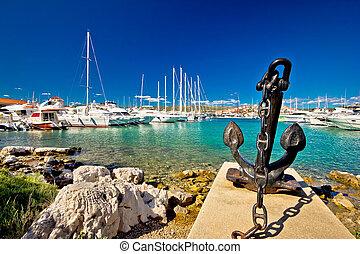 város, kikötő, adriai, rogoznica, vitorlázás