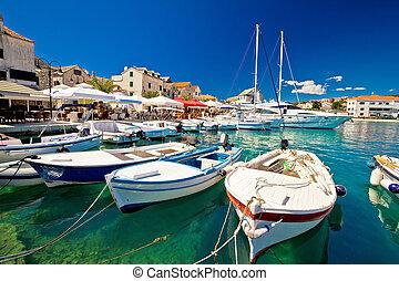 város, kikötő, primosten, waterfront