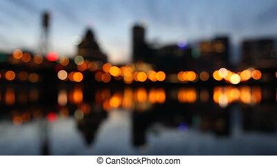 város láng, bokeh, éjszaka, portland or