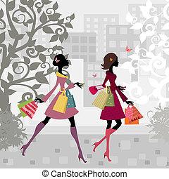 város, lány, gyalogló, bevásárlás, mindenfelé