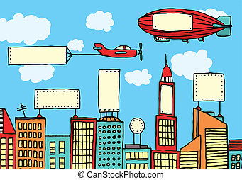 város, látási, hirdetés, /, szennyeződés