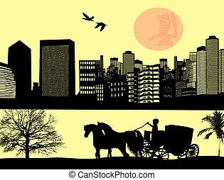 város, ló, két, kocsi, húzott, táj