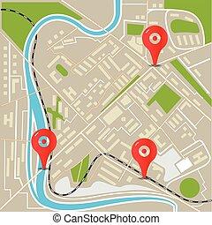 város, lakás, elvont, ábra, térkép, tervezés, piros, pins.