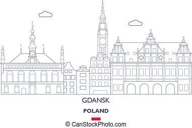 város, lengyelország, láthatár, gdansk, lineáris