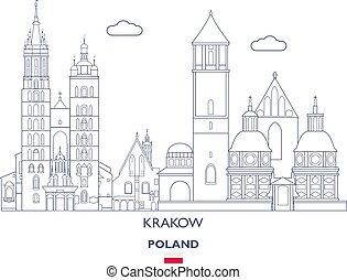 város, lengyelország, láthatár, krakow, lineáris