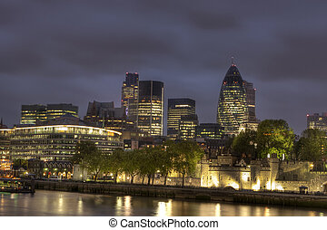 város, london, éjszaka