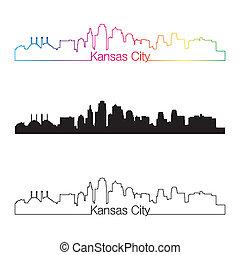 város, mód, lineáris, szivárvány, kansas, láthatár
