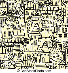 város, motívum, karikatúra, seamless