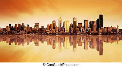 város, napkelte, kilátás