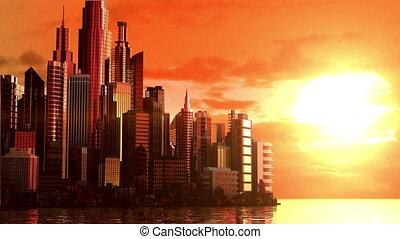 város, napkelte