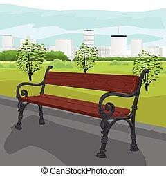 város, nyár, fából való, pad, üres