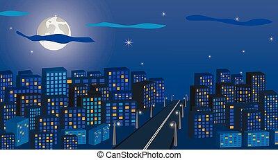 város, on., nagy, moon., ég, ellen, állati tüdő, utca, hosszú, háttér, éjszaka, cityscape