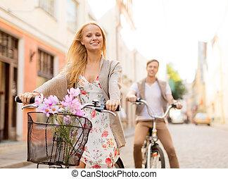 város, párosít, bicycles