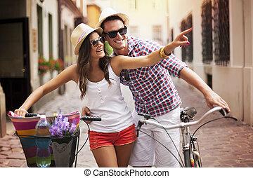 város, párosít, bringák, boldog