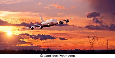 város, repülés, kereskedelmi, ligt, napnyugta, felül, repülőgép